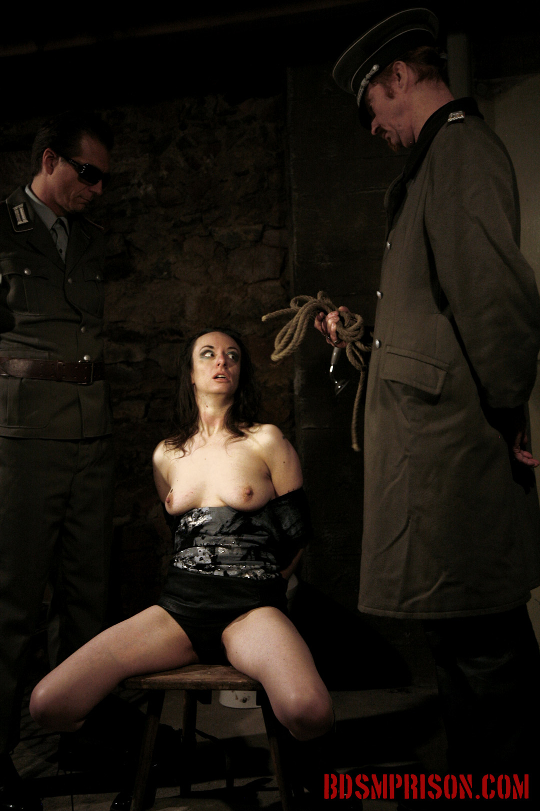 Nadja endures domination humiliation bondage with duct tape. Nadja has been in prison for a few years where she is punish daily by two prison guards. She has earned sex slave traininig. She wakes up bound to a chair with a sack over her head in the basement of our institute.