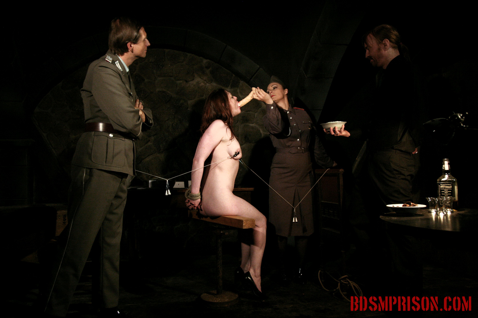 Sophie endures domination dildo deepthroat bj. Sophie is punished daily by three prison guards. She's been sentenced to lifelong sex slave traininig. She wakes up bound to a chair, nipple weights hanging low to the floor. Sophie will endure three BDSM Masters, domination, bondage, breast, cunt and nipple torture with clamps, intense spanking, whipping and smacking, humiliation, sex toys, dildo with a deepthroat BJ. They even have whip cream for her. This prison slut has earned a treat.