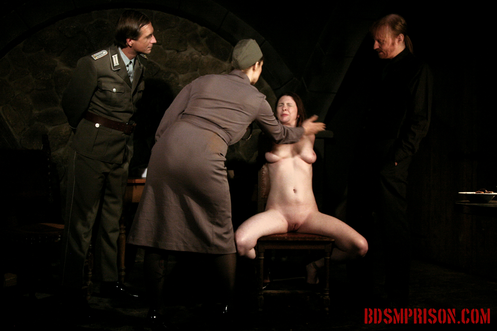 Sophie domination bondage cunt and nipple molested. Sophie is a betting loser and has amounted quite a debt. So Sophie is imprisoned in the Institute for punishment. Two prison guards and BDSM Major Marcowicz joins the night for her pleasure. Sophie will endure domination, bondage, breast, kitty and nipple torture with clamps, intense spanking, whipping and smacking on her thighs, tits and face, humiliation, sex toys, nipple weights. She has to smile the entire time, every slap.