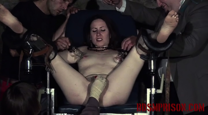 Domination bondage with clara  clara is brought to bdsm prison where she receives sex slave training as punishment  they imprison her and strap her into medical stirrups  she must endure a bdsm prison mistress and two masters domination bondage medical pl. Clara is brought to BDSM prison, where she receives sex slave training as punishment. They imprison her and strap her into medical stirrups. She must endure a BDSM Prison dominatrix and two Masters, domination, bondage, medical play, spanking, whipping, smacking, humiliation, sex toys, suction cups, sharp pinwheel, nipple and pussy torment.